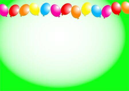 Decorative birthday party balloon page border design. photo