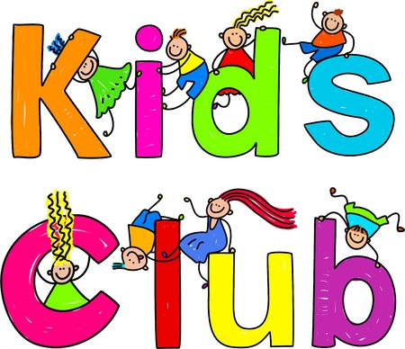 Cute children climbing over the words KIDS CLUB.
