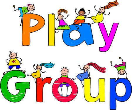 group of happy and diverse kids climbing over the words PLAY GROUP.