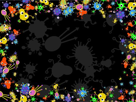 Bacteria germ buggy things forming a page border design. photo