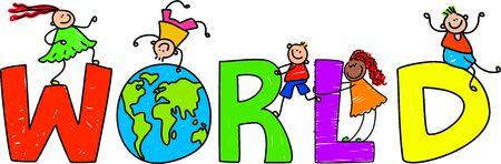 Happy little children climbing over the word WORLD.