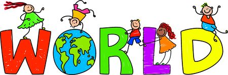 world group: Happy little children climbing over the word WORLD.