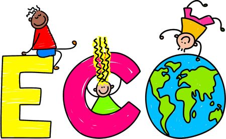 Happy little kids climbing over the word ECO. photo