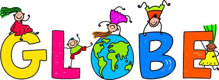 Happy little kids climbing over the word GLOBE. photo