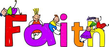 christian trust: Happy little kids climbing over the word FAITH.