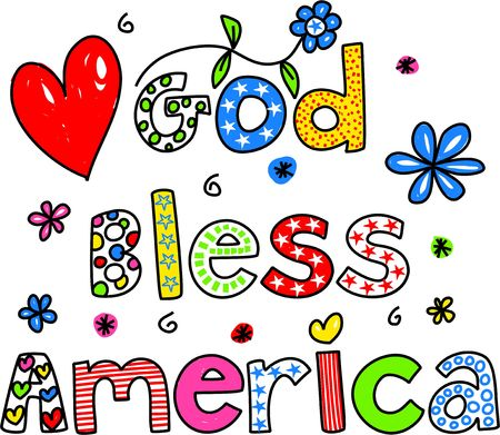 god bless: Decorative God Bless America text message isolated on white.