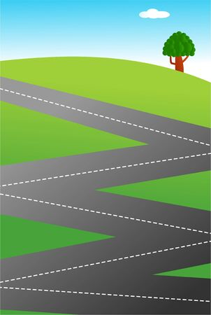 An illustration of a zig zag shaped country road.