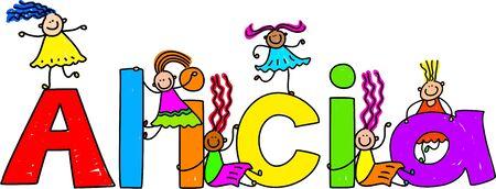 Feliz y diversas niñas escalada en los niños nombre ALICIA. Foto de archivo - 4708452
