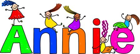 child's: Happy and diverse little girls climbing over the childs name ANNIE.