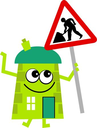 road works: Mr house holding a road works warning sign. Stock Photo