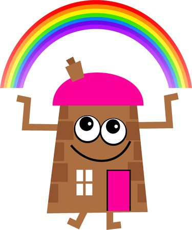 mr: Mr house with a rainbow over head. Stock Photo