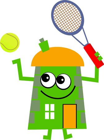 mr: Mr house playing tennis isolated on white. Stock Photo