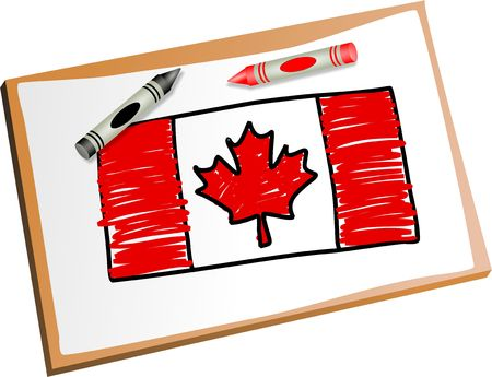 plaything: Drawing of the Canadian flag with kids crayons.