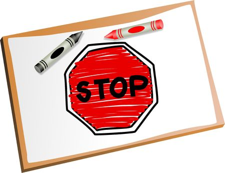 Drawing of a stop sign using kids crayons. Stock Photo - 4837633