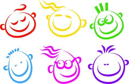 A set of simple happy face icons isolated on white.