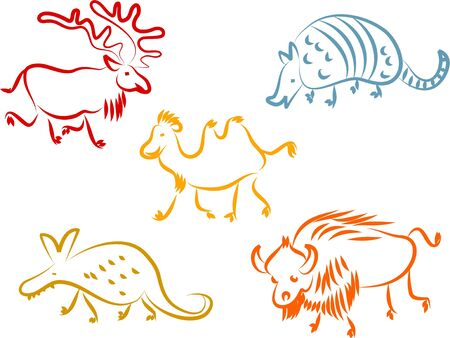 aardvark: A set of colourful animal line icons isolated on white.