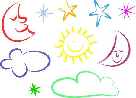 zon maan: Een reeks van kleurrijke zon, maan en sterren lijn iconen geïsoleerd op wit. Stockfoto