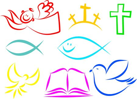 A set of colourful simple line drawing Christian icons.