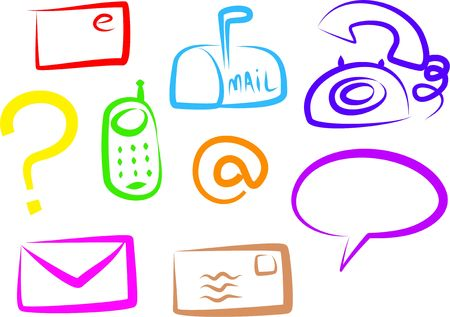A set of colourful simple line communication icons isolated on white.