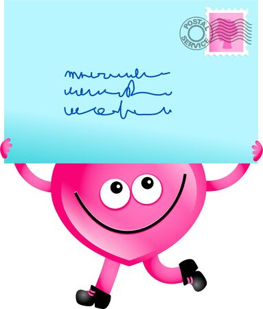 received: Mr Heart holding a giant letter received through the post. Stock Photo