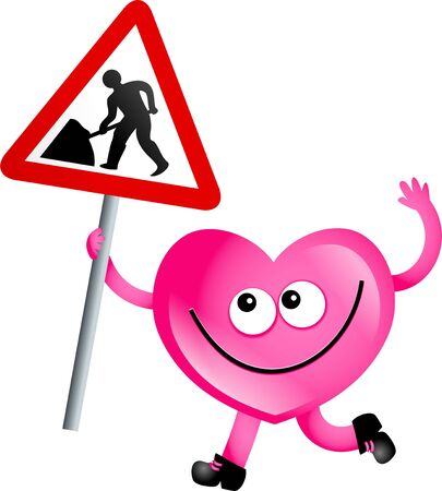road works: Mr Heart holding a road works sign isolated on white.