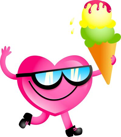 mr: Mr Heart holding an ice cream and wearing sunglasses.