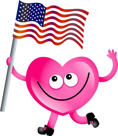 Mr heart flying the flag of the United States of America. Stock Photo - 4947087