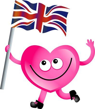 mr: Mr heart flying the Union Jack flag of the United Kingdom.