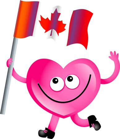 Mr heart flying the flag of Canada isolated on white. Stock Photo - 4947078