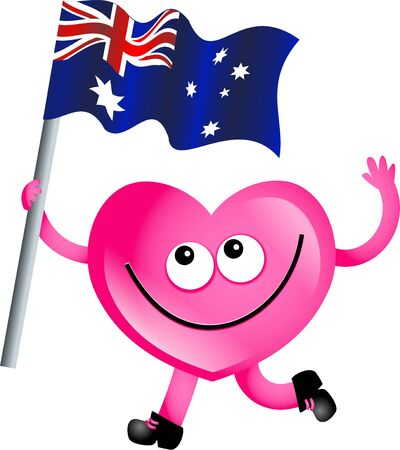 Mr heart waving the flag of Australia isolated on white. photo