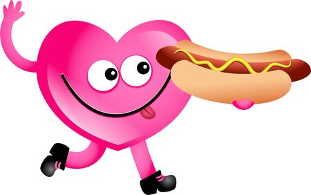 Mr heart eating an hotdog isolated on white. Stock Photo - 5006176
