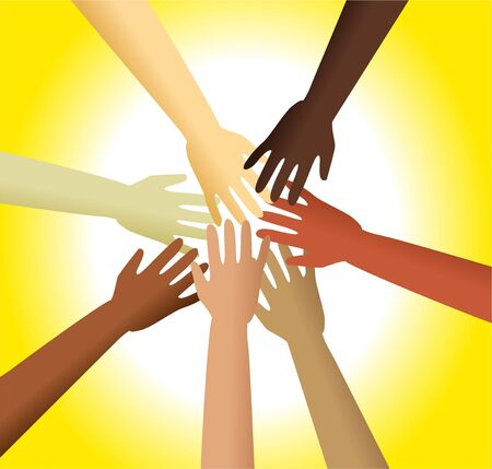 touching hands: Group of diverse hands reaching out and touching each other. Stock Photo