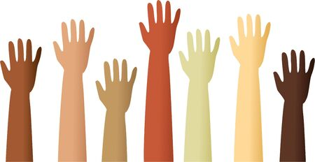 waving hand: A group of mixed race raised hands.