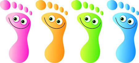A group of colourful feet with happy faces.