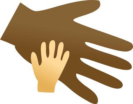 mixed race children: A big ethnic hand helping a smaller caucasian hand.