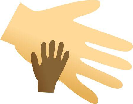 mixed race children: A big caucasian hand helping a smaller asian hand.