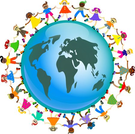 A group of diverse and happy kids holding hands around a globe of the world.