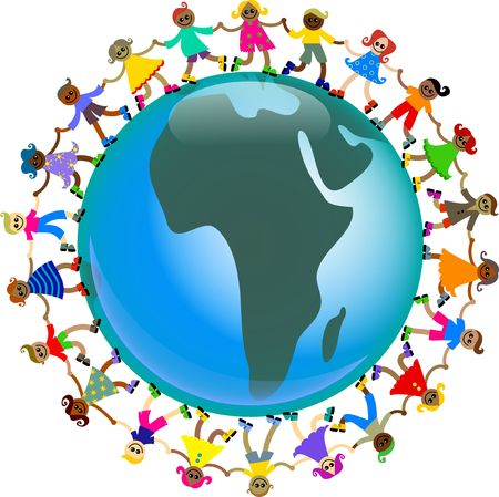 A group of happy and diverse children holding hands around a globe showing the map of Africa. photo