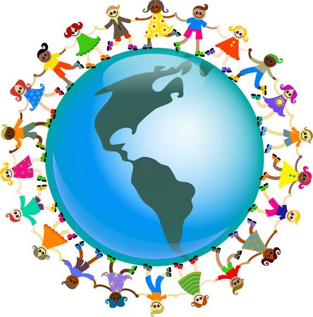around: A group of happy and diverse children holding hands around a globe featuring a map of North and South America.