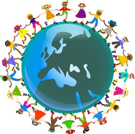 A happy and diverse group of children holding hands around a globe featuring a map of Europe.