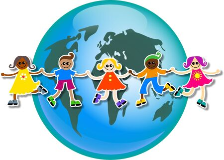 mixed race children: A group of happy and diverse children holding hands around a globe of the world.