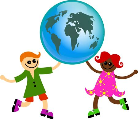 mixed race children: A happy little girl and boy from different racial background holding up a globe of the world together. Stock Photo