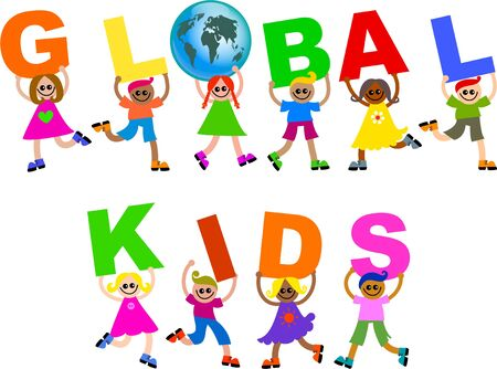 mixed race children: A group of happy and diverse children holding up letters that spell out the words GLOBAL KIDS. Stock Photo