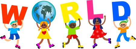 mixed race: A group of happy and diverse children holding up letters that spell out the word WORLD.