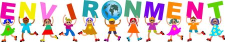 global problem: A group of happy and diverse children holding up letters that spell out the word ENVIRONMENT and replacing the letter O with a globe.