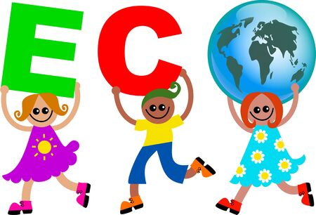 mixed race children: A group of happy and diverse children holding up letters that spell out the word ECO with the letter O being replaced with a globe. Stock Photo
