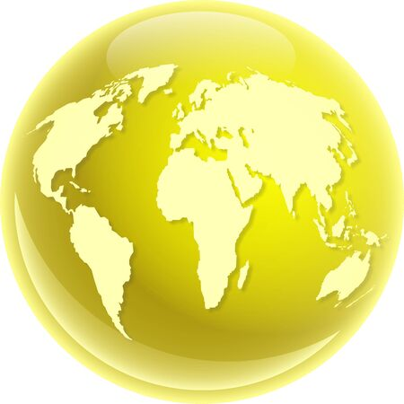 A golden coloured globe featuring a map of the whole world isolated on white. photo