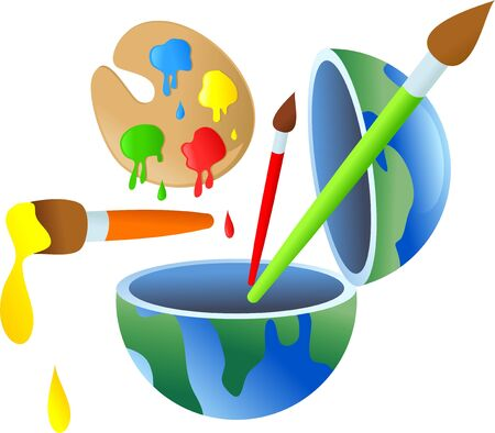half globe: A globe of the world opened in half with paint objects coming out. Stock Photo