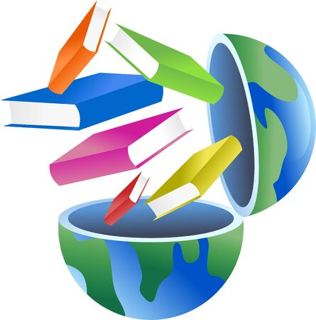An open globe with books coming out of it. Stock Photo