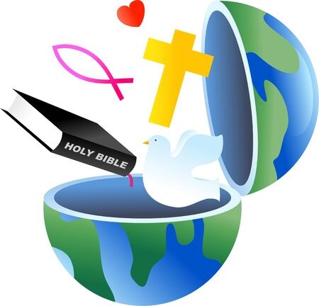 bible and cross: An open globe with Christian symbols coming out of it.
